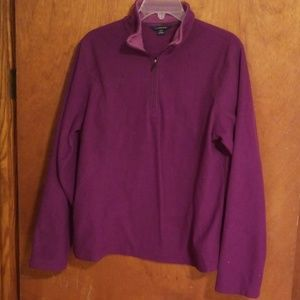 Bright purple Lands End fleece shirt.  Size 14-16